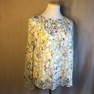 Kensie Jeans White Floral Lined See Through Blouse